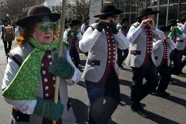 More than 80 marching units will fill downtown streets during the annual St. Patrick's Day parade in Stamford on Saturday, March 3. Above is a scene from last year's event.