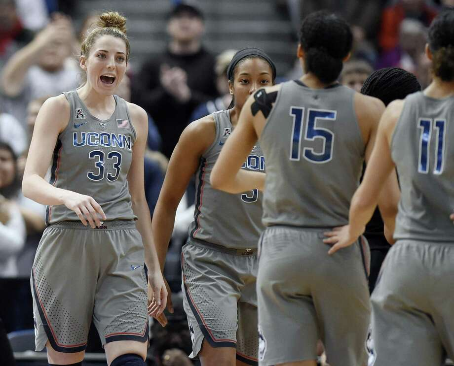 UConn's Katie Lou Samuelson, left, continues to prove there is more to her game than just 3-point shooting. Photo: Associated Press File Photo / AP2018