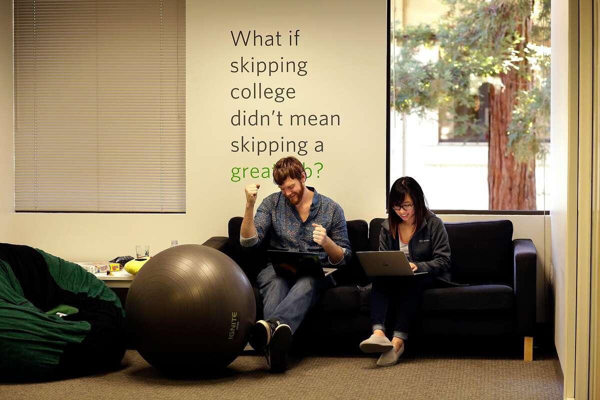 Tucker Heiner and Rachel Tsai at the headquarters of HackerRank in Palo Alto, Calif., on Feb. 21, 2018.