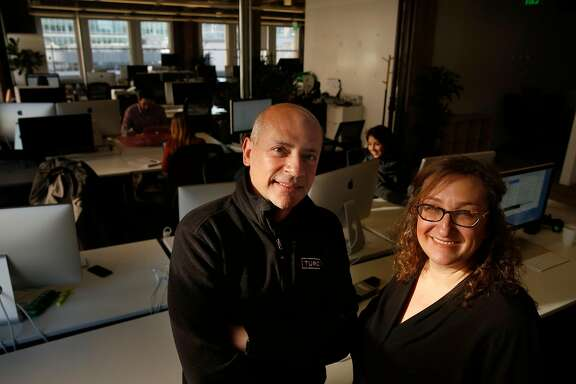 Turo CEO Andre Haddad (l to r) and chief legal officer Michelle Fang stand for a portrait at the Turo headquarters in San Francisco, Calif., on Friday, February 23, 2018.