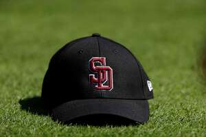 A Stoneman Douglas Eagles baseball hat, worn by all of the MLB teams before the start of the Houston Astros spring training game against the Nationals at The Fitteam Ballpark of the Palm Beaches, Friday, Feb. 23, 2018, in West Palm Beach.