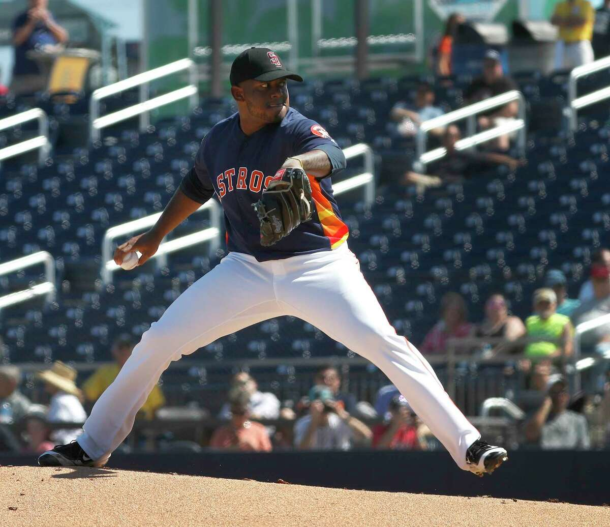 Houston Astros RHP pitcher Rogelio Armenteros (66) pitches in the first inning of the Houston Astros spring training game against the Nationals at The Fitteam Ballpark of the Palm Beaches, Friday, Feb. 23, 2018, in West Palm Beach.