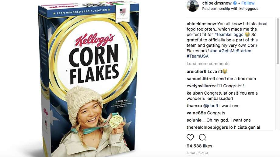 Chloe Kim's limited-edition Corn Flakes box sold out in seven hours, a new record for the Kellogg Company. Photo: Chloe Kim/Instagram