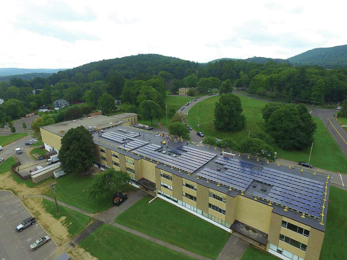 An aerial photo of the Immaculate High School roof with new solar array in Danbury, Conn.