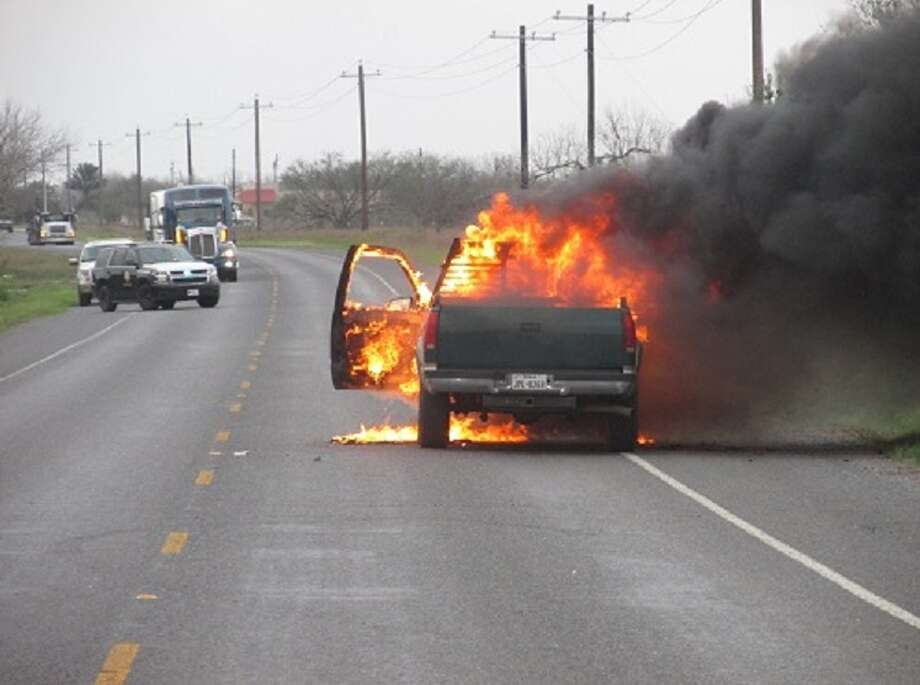 According to a U.S. Border Patrol news release, a man set his own vehicle on fire, Tuesday Feb. 20, 2018, while trying to evade agents and Texas Department of Safety troopers. Photo: Courtesy U.S. Customs And Border Protection