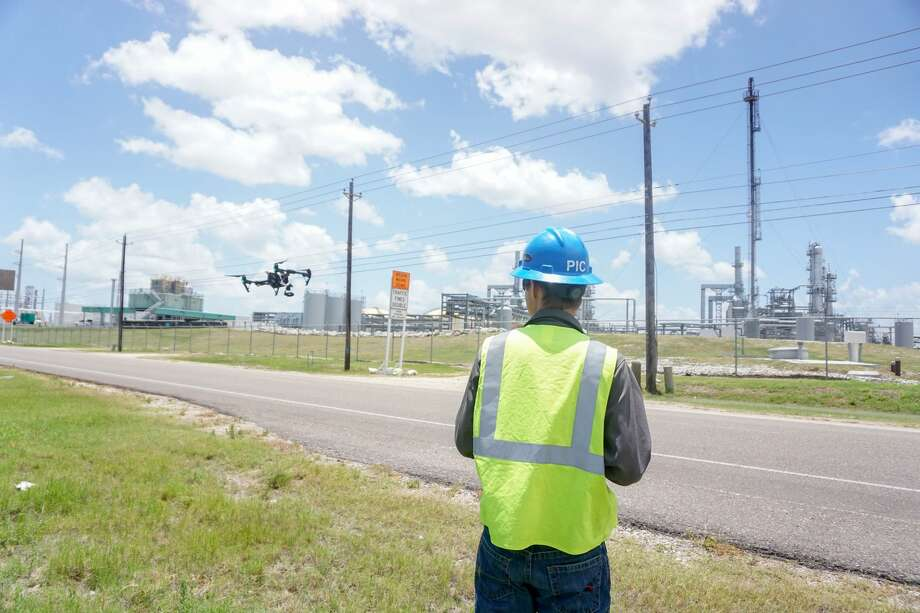 Drones can now perform pipeline, well site and production facility inspections that were once done by foot or helicopter. Photo:  Courtesy Arch Aerial