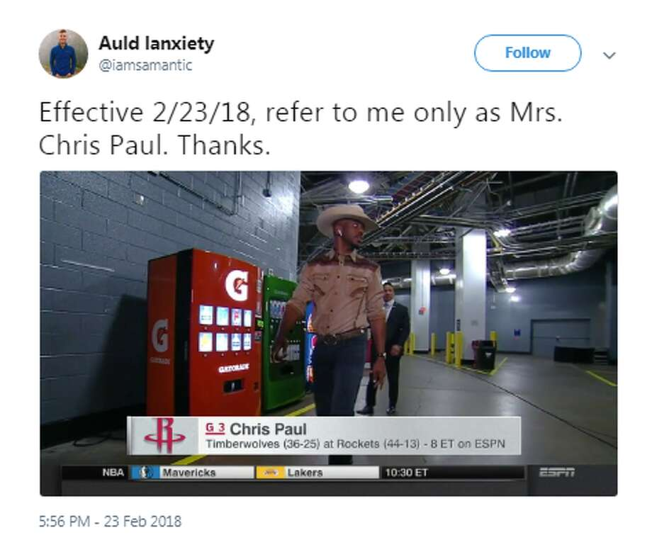 Source: TwitterBrowse through the photos to see how twitter reacted to CP3's cowboy outfit. Photo: Source: Twitter