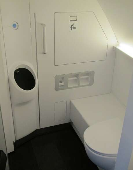 The planes, like this Lufthansa A380, have urinals and toilets, which helps solve the up or down dilemma. See more photos in the slideshow at the top of this post Photo: Chris McGinnis