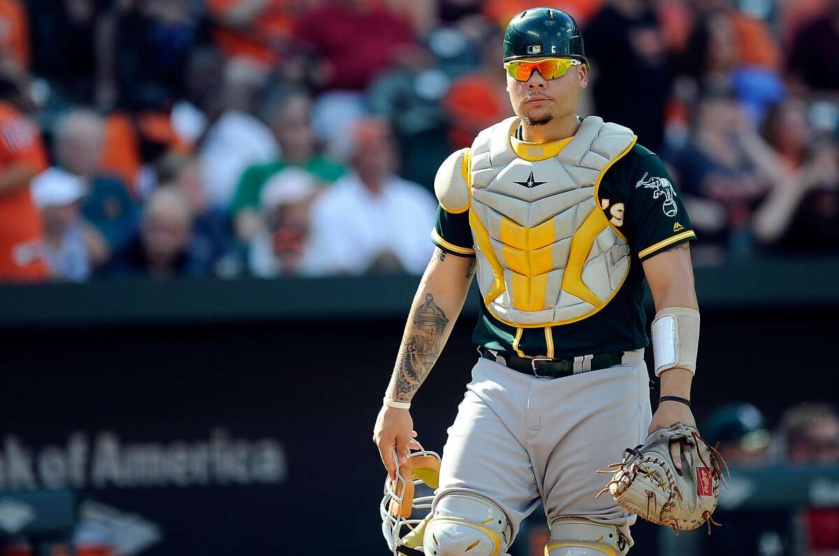BALTIMORE, MD - AUGUST 23: Bruce Maxwell #13 of the Oakland Athletics throws the ball to second base against the Baltimore Orioles at Oriole Park at Camden Yards on August 23, 2017 in Baltimore, Maryland. ~~