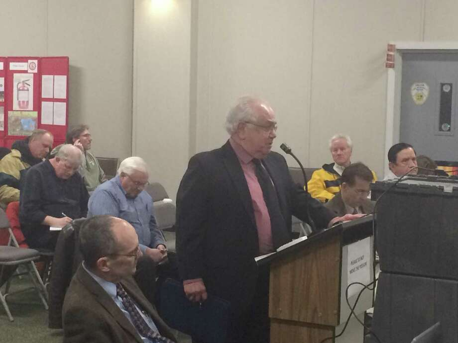 Dominick Thomas, the Derby land use lawyer who represents the developers of the massive Towne Center at Shelter Ridge, address Shelton's Inland Wetlands commission Photo: / Michael P. Mayko