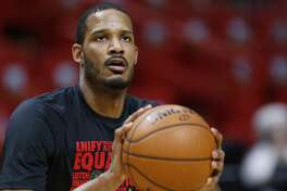 Houston Rockets forward Trevor Ariza warms up before the start of an NBA basketball game against the Miami Heat, Wednesday, Feb. 7, 2018, in Miami. (AP Photo/Wilfredo Lee)