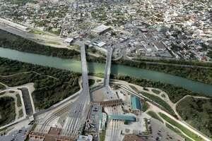 The Rio Grande flows under the McAllen-Hidalgo-Reynosa International Bridge. McAllen, Texas, and Reynosa in Tamaulipas Mexico form a metropolitan cross-border business area.