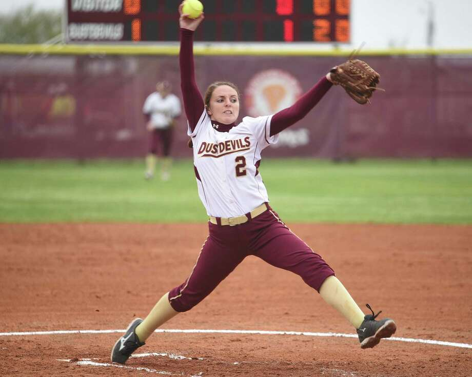 TAMIU pitcher Delainy Thompson threw her school record 55th complete game Tuesday in a 4-1 victory at St. Edward's. The Dustdevils lost the opening game of the doubleheader 4-3 on a SEU walk-off fielder's choice. Photo: Danny Zaragoza /Laredo Morning Times File