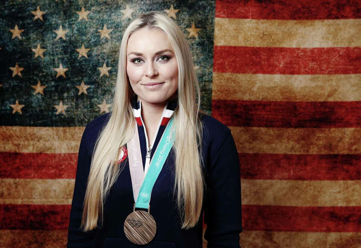 GANGNEUNG, SOUTH KOREA - FEBRUARY 22: (BROADCAST-OUT) Lindsey Vonn of the United States poses with her bronze medal in the Women's Skiing Downhill on the Today Show Set on February 22, 2018 in Gangneung, South Korea. (Photo by Marianna Massey/Getty Images)