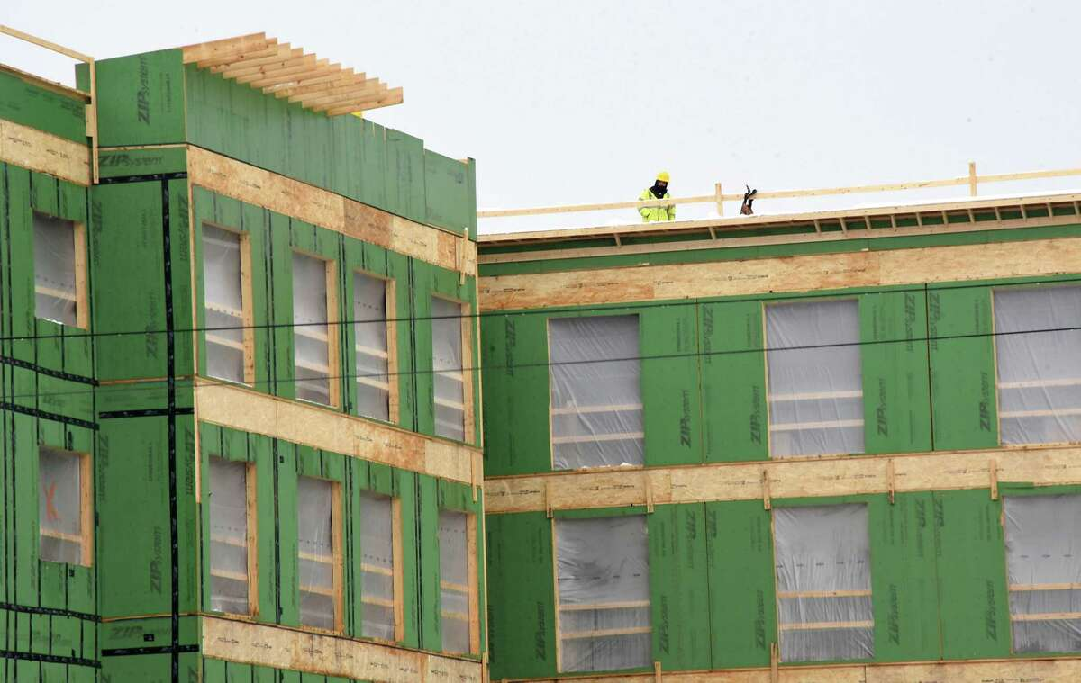 Construction continues on Homewood Suites by Hilton in front of Crossgates Mall on Friday, Feb. 23, 2018 in Guilderland, N.Y. (Lori Van Buren/Times Union)