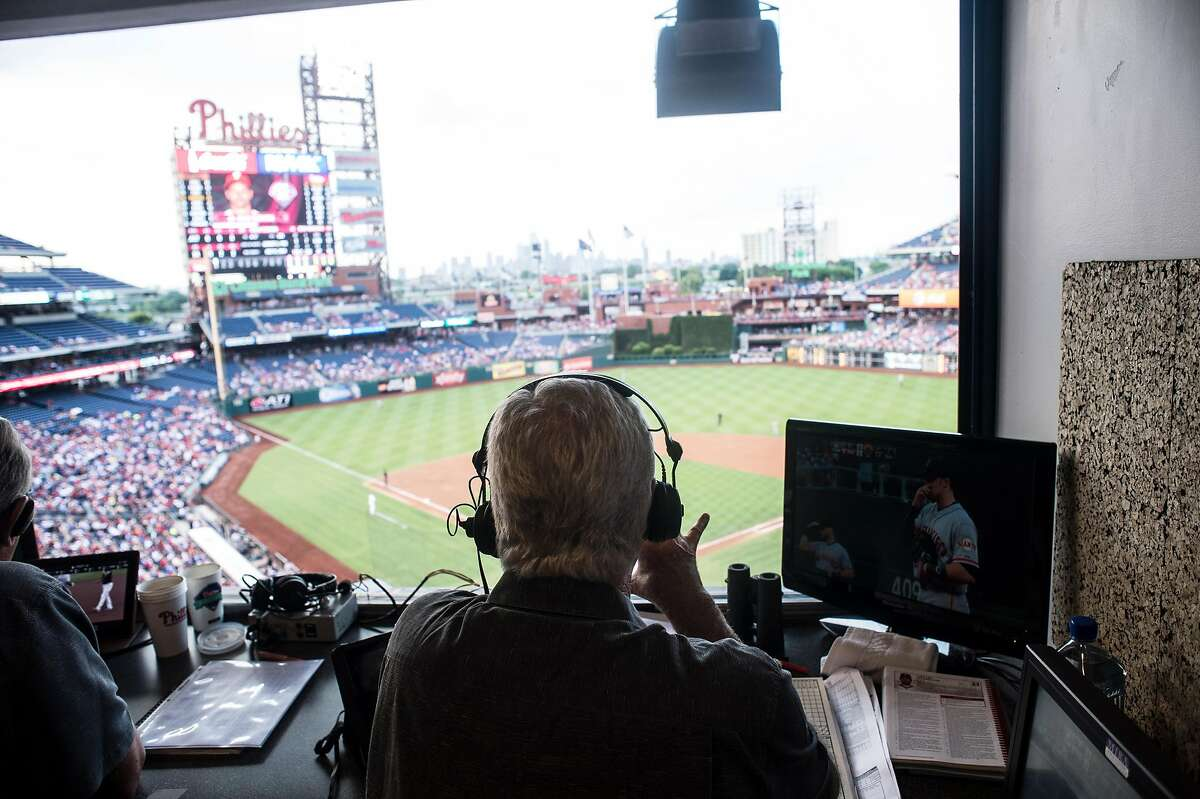 Mike Krukow, long-time television color commentator for the San Francisco Giants, broadcasting live during the game at Citizen's Bank Park in Philadelphia on July 21, 2014.