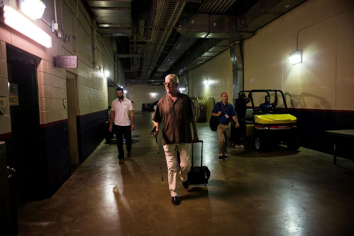 Mike Krukow, long-time television color commentator for the San Francisco Giants, arrives at Citizen's Bank Park in Philadelphia on July 21, 2014.