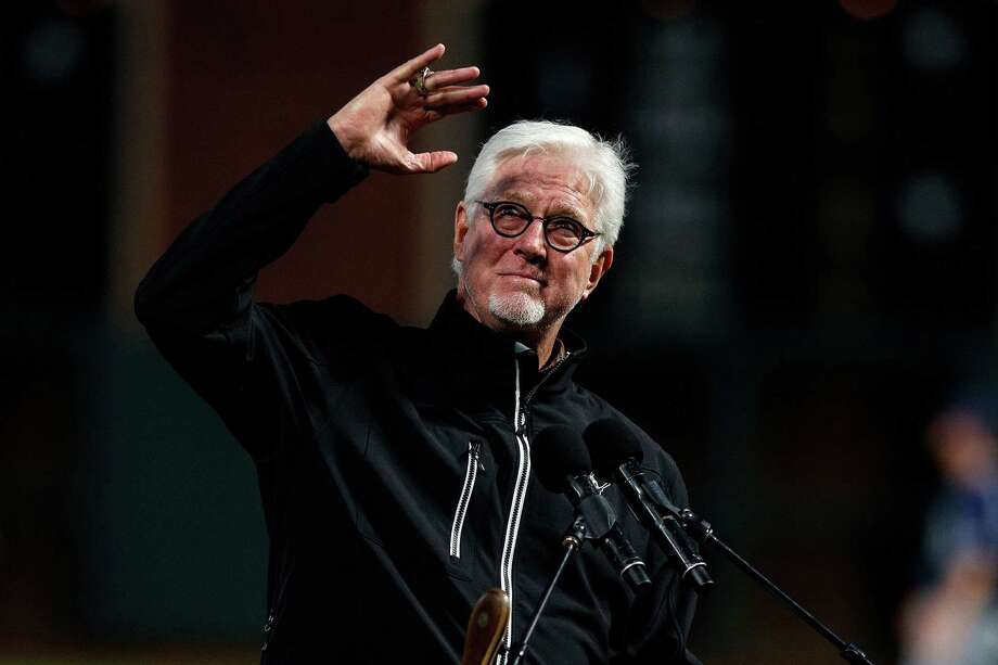 Broadcaster Mike Krukow of the San Francisco Giants stands on the field during the 2017 Willie Mac Award ceremony. Krukow will arrive at spring training next weekend, scheduled to work the Sunday Giants-Dodgers telecast.  Photo: Jason O. Watson / Getty Images / 2017 Jason O. Watson