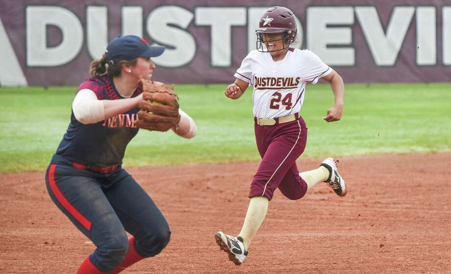 Second baseman Melanie Gamboa was 2-for-3 with a home run and two RBIs in the Dustdevils' 8-6 loss in the regular-season finale at Lubbock Christian. They enter the Heartland Conference tournament as the No. 4 seed after coming into the day with a shot at claiming the overall championship. Photo: Danny Zaragoza /Laredo Morning Times File