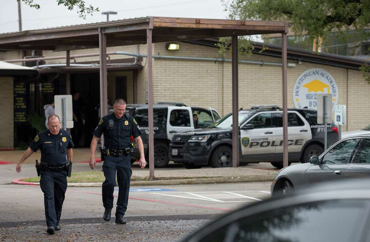 Houston Police officers responded to reports of gun being brought in to Houston Can Academy Hobby by a student Thursday, Feb. 15, 2018, in Houston. The school was placed in lockdown. ( Godofredo A. Vasquez / Houston Chronicle )