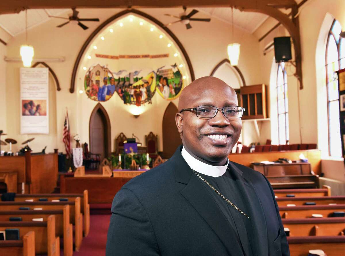 Rev. Craig Robinson inside the sanctuary at Israel AME Church Wednesday Feb. 21, 2018 in Albany, NY. (John Carl D'Annibale/Times Union)