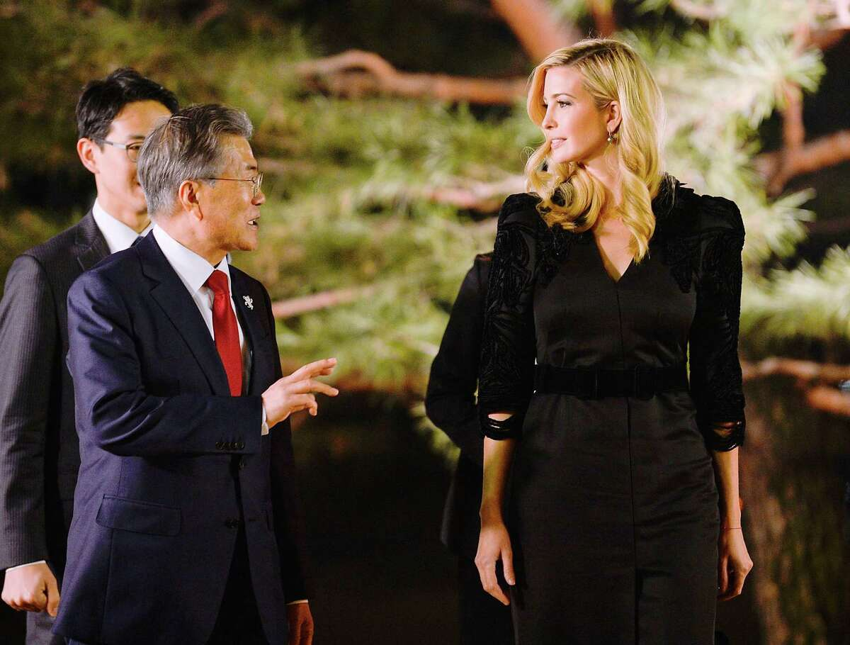 President Moon Jae-In of South Korea speaks with Ivanka Trump at the Presidential Blue House in Seoul, Feb. 23, 2018. Trump channeled her fatherOs call for Omaximum pressureO on North Korea Friday at the start of a highly anticipated trip to South Korea. (Kim Min-Hee/Pool via The New York Times) -- FOR EDITORIAL USE OLY. --