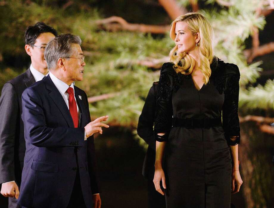 President Moon Jae-In of South Korea speaks with Ivanka Trump at the Presidential Blue House in Seoul, Feb. 23, 2018. Trump channeled her fatherOs call for Omaximum pressureO on North Korea Friday at the start of a highly anticipated trip to South Korea. (Kim Min-Hee/Pool via The New York Times) -- FOR EDITORIAL USE OLY. -- Photo: KIM MIN-HEE / POOL
