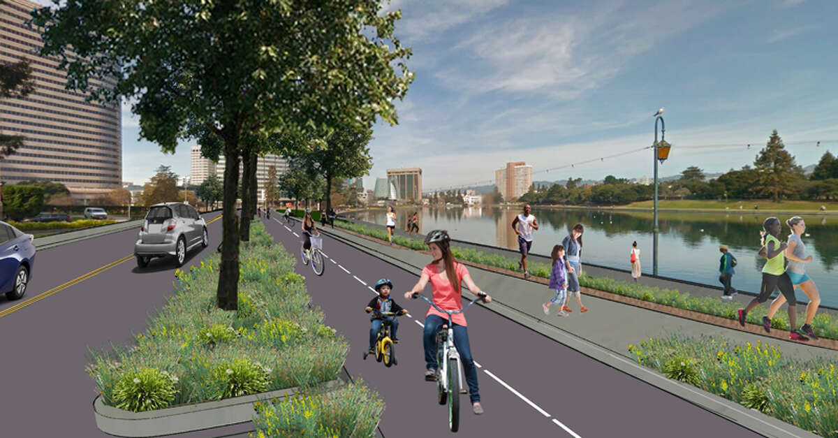 A rendering of protected bike lanes proposed in Oakland.