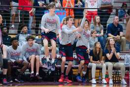Clear Lake fans react to a call on the court against North Shore Friday, Feb. 23 at Pearland High School.