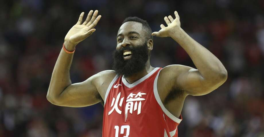 Houston Rockets guard James Harden (13) pumps his hands in the air to cheer for Chris Paul during the fourth quarter of the NBA game against the Minnesota Timberwolves at Toyota Center on Friday, Feb. 23, 2018, in Houston. The Houston Rockets defeated the Minnesota Timberwolves 120-102. ( Yi-Chin Lee / Houston Chronicle ) Photo: YCL/Houston Chronicle