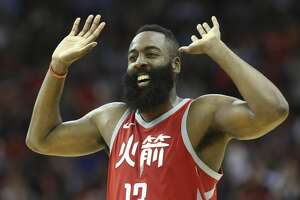 Houston Rockets guard James Harden (13) pumps his hands in the air to cheer for Chris Paul during the fourth quarter of the NBA game against the Minnesota Timberwolves at Toyota Center on Friday, Feb. 23, 2018, in Houston. The Houston Rockets defeated the Minnesota Timberwolves 120-102. ( Yi-Chin Lee / Houston Chronicle )