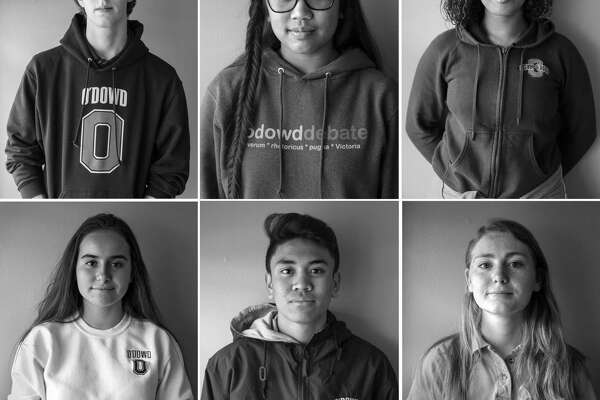 Bishop O'Dowd High School students at their school campus on Thursday, Feb. 22, 2018 in Oakland: (top left clockwise) junior Eli McAmis, 16 ; junior Sofia Odeste, 17 ; senior Kameela Hall, 18 ; junior Alden O'Rafferty, 16 ; freshman Aleki Lozano, 14 and freshman Paulina Harding, 14.