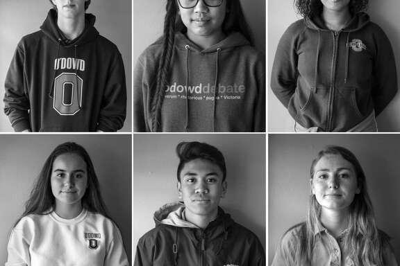 Bishop O'Dowd High School students at their school campus on Thursday, Feb. 22, 2018 in Oakland: (top left clockwise) junior Eli McAmis, 16 ; junior Sofia Odeste, 17 ; senior Kameela Hall, 18 ; junior Alden O'Rafferty, 16 ; freshman Aleki Lozano, 14 and freshman Paulina Harding, 14.