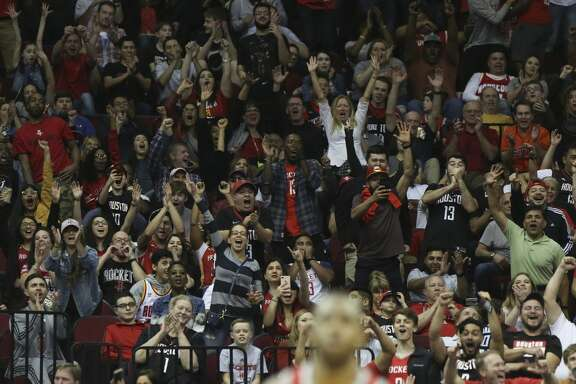 Houston Rockets fans cheer for Houston Rockets guard Chris Paul's basket after fooling Minnesota Timberwolves forward Nemanja Bjelica during the fourth quarter of the NBA game at Toyota Center on Friday, Feb. 23, 2018, in Houston. The Houston Rockets defeated the Minnesota Timberwolves 120-102. ( Yi-Chin Lee / Houston Chronicle )