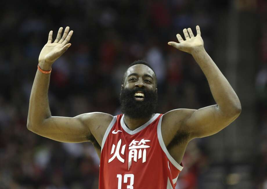 Houston Rockets guard James Harden (13) pumps his hands in the air to cheer for Houston Rockets guard Chris Paul fooling Minnesota Timberwolves forward Nemanja Bjelica and scoring two points during the fourth quarter of the NBA game at Toyota Center on Friday, Feb. 23, 2018, in Houston. The Houston Rockets defeated the Minnesota Timberwolves 120-102. ( Yi-Chin Lee / Houston Chronicle ) Photo: YCL/Houston Chronicle