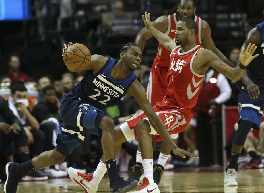 Oddsmakers don't give Andrew Wiggins and the Timberwolves much of a chance against Trevor Ariza and the top-seeded Rockets. Photo: YCL/Houston Chronicle