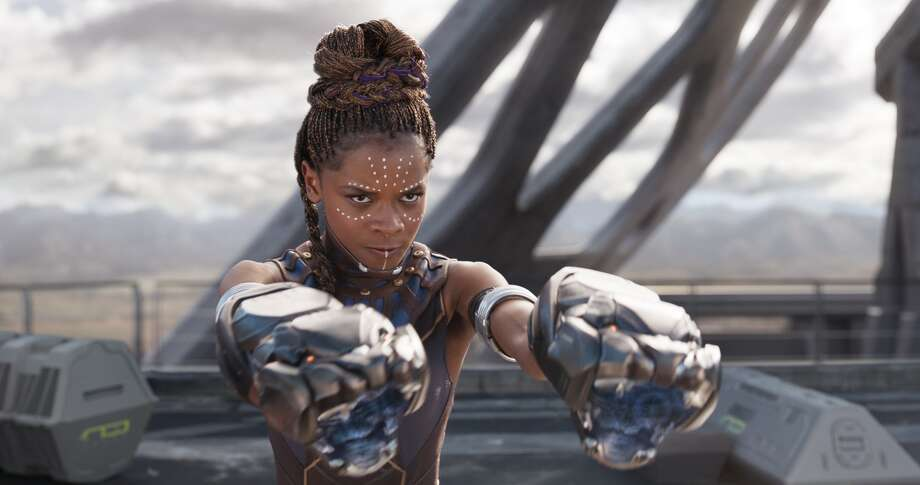 "Images like this one of Letitia Wright in ""Black Panther"" normalize the idea of black people as successful, beautiful and iconic in the mainstream imagination. Photo: Null / null"