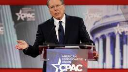 FILE- In this Thursday, Feb. 22, 2018, file photo, National Rifle Association Executive Vice President and CEO Wayne LaPierre, speaks at the Conservative Political Action Conference (CPAC), at National Harbor, Md. LaPierre said at the conference that those advocating for stricter gun control are exploiting the Florida shooting which killed over a dozen people, mostly high-school students. (AP Photo/Jacquelyn Martin, File)