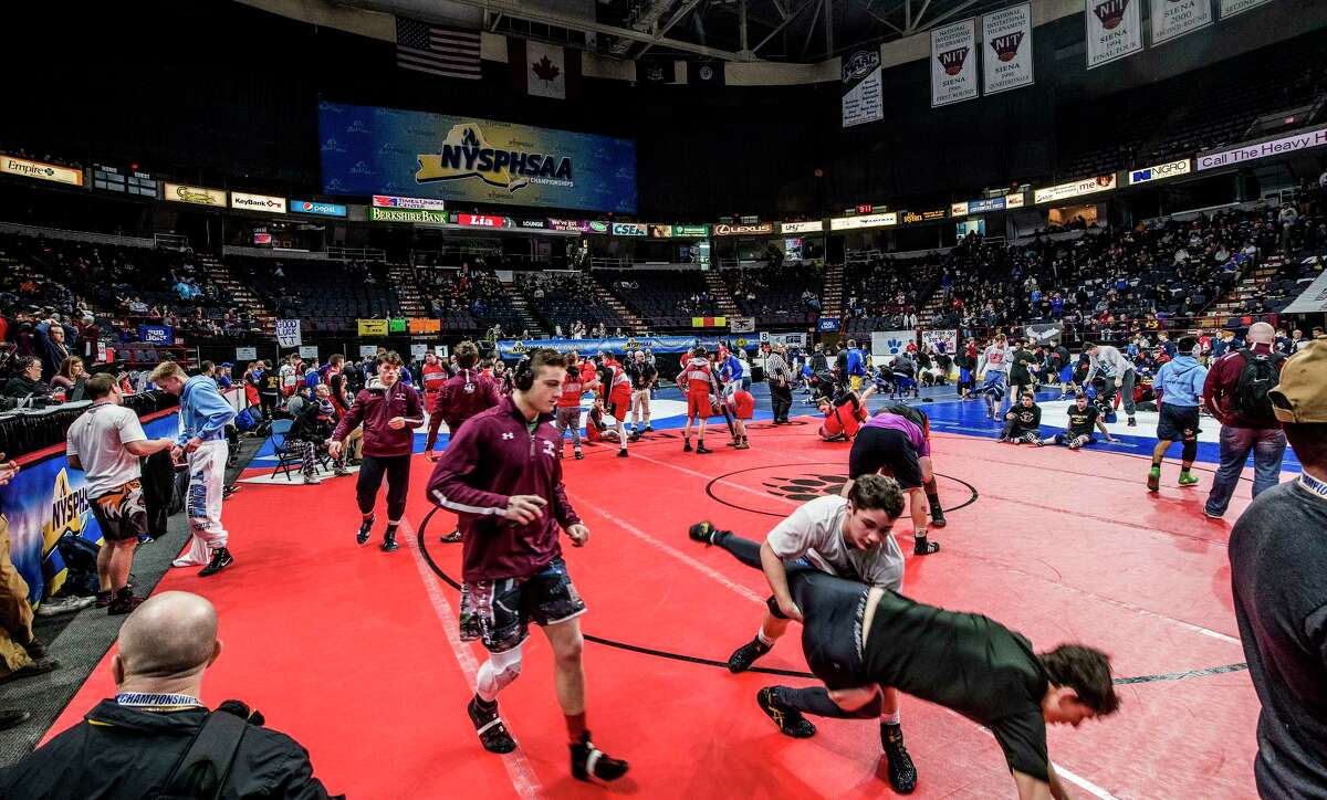 Warm ups have begun for the New York State High School Wrestling Championships at the Times Union Center Friday Feb. 23, 2018 in Albany, N.Y. (Skip Dickstein/Times Union)