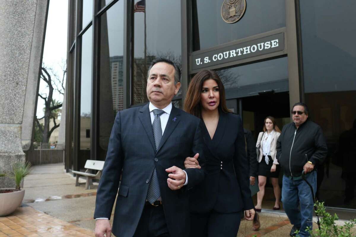 Former state Sen. Carlos Uresti and his now ex-wife Lleanna Elizondo, leave the San Antonio federal courthouse following his conviction on 11 felony charges in 2018. The federal government and Elizondo are now involved in a dispute over the pension Uresti earned as an elected official.
