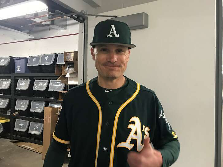 """Former A's outfielder Eric Byrnes was back in his old uniform Saturday for MLB Network's """"30 for 30."""""""