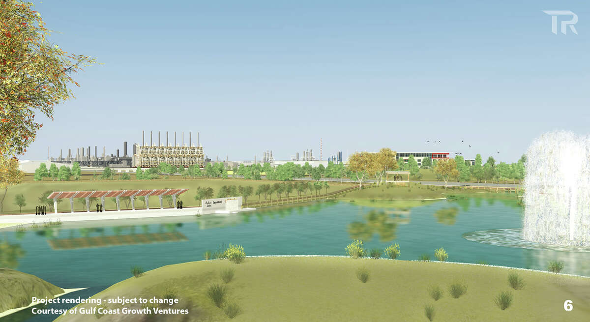 ExxonMobil and SABIC are proposing to build the world's largest ethane steam cracker near the Gulf community of Portland. These renderings show the siting of the facility, which would produce 1.8 million metric tons of ethylene and polyethylene yearly when complete.