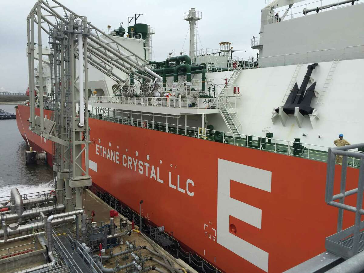 This file photo shows the Ethane Crystal, the world's first vessel classified as a Very Large Ethane Carrier, that made its first trip out of Enterprise Products Partners Morgan's Point Terminal in 2018 en route to India. Enterprise is also expanding its ethylene export capacity at Morgan Point and announced May 28 that it plans to build a new ethylene pipeline with access to Morgan Point and the Mont Belvieu petrochemical hub.
