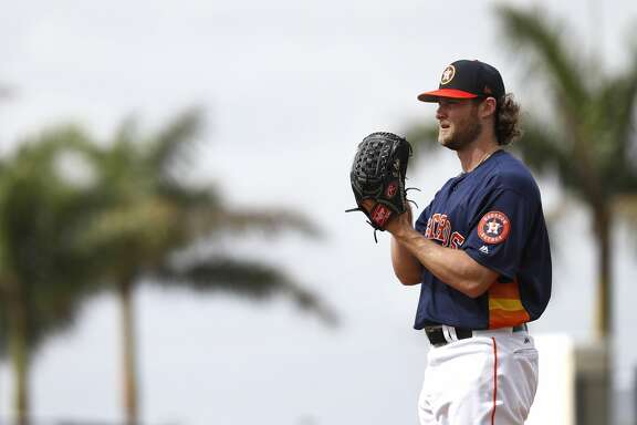Houston Astros RHP pitcher Gerrit Cole (45) throws live batting practice during spring training at The Ballpark of the Palm Beaches, Tuesday, Feb. 20, 2018, in West Palm Beach.   ( Karen Warren / Houston Chronicle )