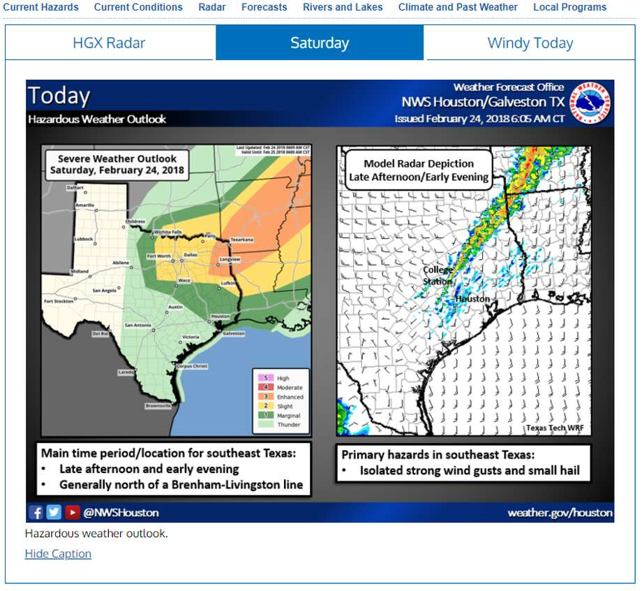 Houston is in for some hazardous weather, and possible hail as a cold front pushed through the area overnight into Sunday. Photo: National Weather Service Website