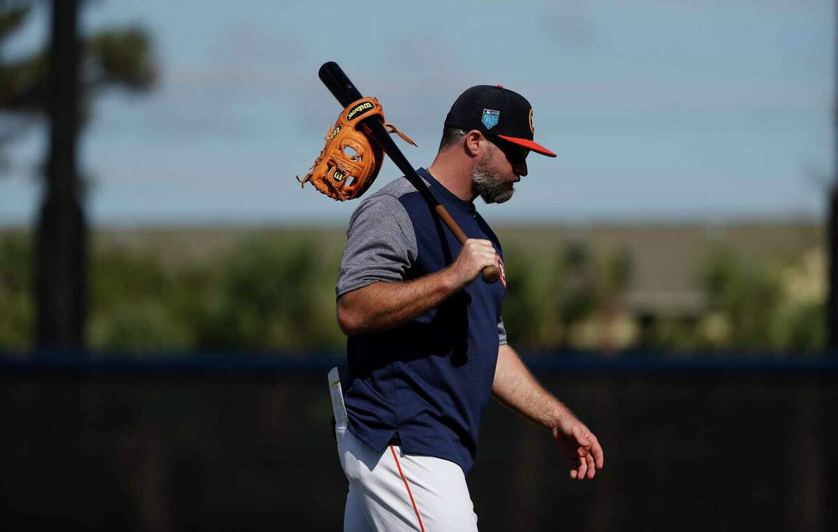 Morgan Ensberg, Houston Astros Class A Advanced manager, during spring training at The Fitteam Ballpark of the Palm Beaches, Saturday, Feb. 24, 2018, in West Palm Beach.