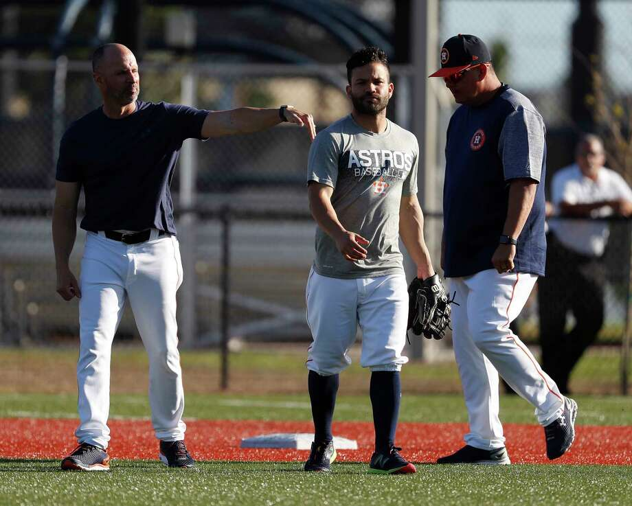 PHOTOS: Meet the Astros coaching staff Houston Astros bench coach Joe Espada taps Jose Altuve after he and Carlos Correa finished working on early morning drills during spring training at The Fitteam Ballpark of the Palm Beaches, Saturday, Feb. 24, 2018, in West Palm Beach. Browse through the photos above for a look at the Astros' coaching staff ... Photo: Karen Warren, Houston Chronicle / © 2018 Houston Chronicle