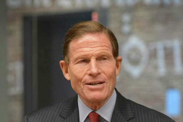 U.S. Sen. Richard Blumenthal, D-Conn., speaks to the Hearst Connecticut Media Editorial Board on Thursday.