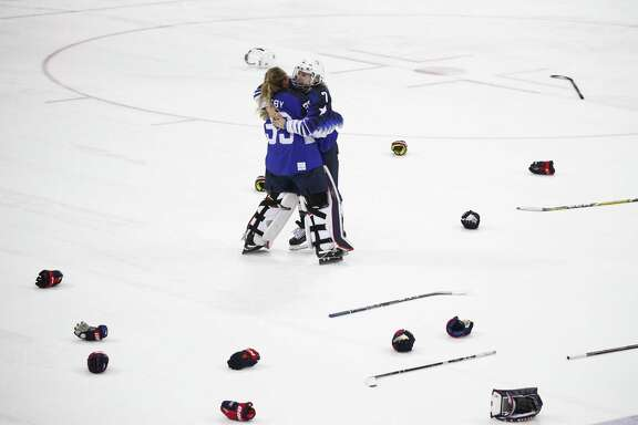 United States' Alex Rigsby, left, and Monique Lamoureux-Morando celebrate after winning the women's gold medal hockey game against Canada at the 2018 Winter Olympics in Gangneung, South Korea, Thursday, Feb. 22, 2018. (AP Photo/Jae C. Hong)