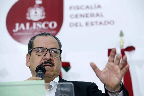 Mexican Attorney General Raul Sanchez speaks at a press conference in Guadalajara, Jalisco state, Mexico on February 24, 2018. Sanchez confirmed that four police officers from the Mexican community of Tecalitlan have been arrested for the forced disappearance of three Italian men. / AFP PHOTO / ULISES RUIZ        (Photo credit should read ULISES RUIZ/AFP/Getty Images)